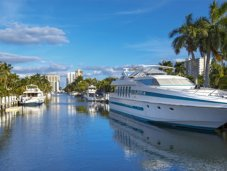 Fort Lauderdale canal with yacht
